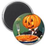 Retro Vintage Kitsch Halloween Pumpkin Eating Pie Refrigerator Magnet