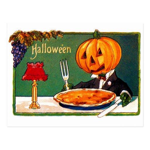 Retro Vintage Kitsch Halloween Pumpkin Eating Pie Postcards