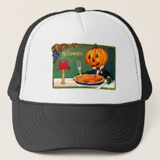 Retro Vintage Kitsch Halloween Pumpkin Eating Pie Trucker Hat