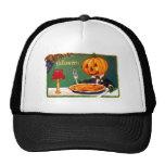 Retro Vintage Kitsch Halloween Pumpkin Eating Pie Trucker Hat