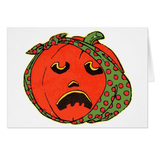 Retro Vintage Kitsch Halloween Pumpkin Toothache Card