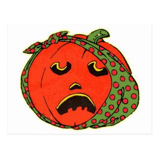 Retro Vintage Kitsch Halloween Pumpkin Toothache Postcard