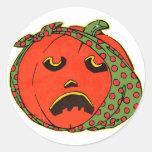 Retro Vintage Kitsch Halloween Pumpkin Toothache Classic Round Sticker