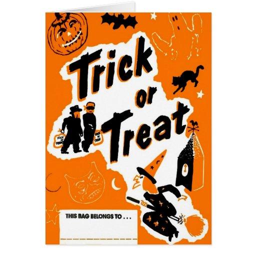 Retro Vintage Kitsch Halloween Trick or Treat Card