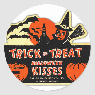 Retro Vintage Kitsch Halloween Trick or Treat Classic Round Sticker