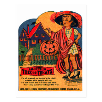 Retro Vintage Kitsch Halloween Trix or Treat Candy Post Card