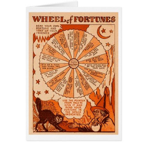 Retro Vintage Kitsch Halloween Wheel of Fortunes Card