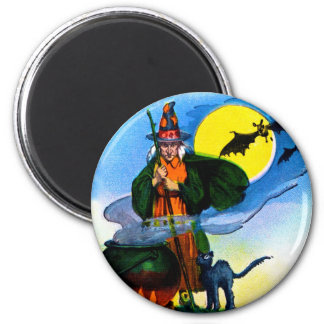 Retro Vintage Kitsch Halloween Witches Brew Magnet