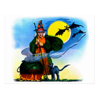 Retro Vintage Kitsch Halloween Witches Brew Postcard