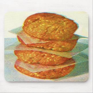 Retro Vintage Kitsch Hamburger Patties Burgers Mouse Pad