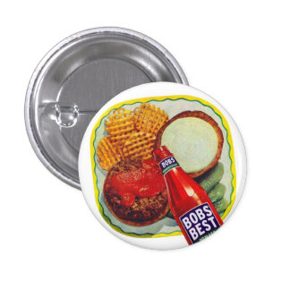 Retro Vintage Kitsch Hamburgers With Ketchup 1 Inch Round Button