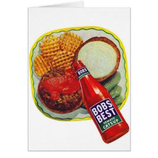 Retro Vintage Kitsch Hamburgers With Ketchup Card