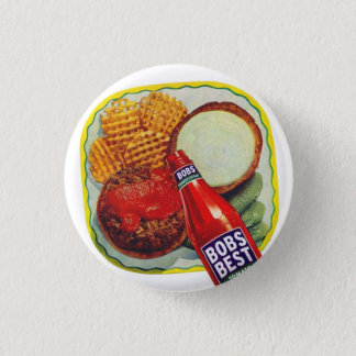 Retro Vintage Kitsch Hamburgers With Ketchup Pinback Button