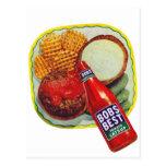 Retro Vintage Kitsch Hamburgers With Ketchup Postcards