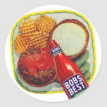 Retro Vintage Kitsch Hamburgers With Ketchup Sticker
