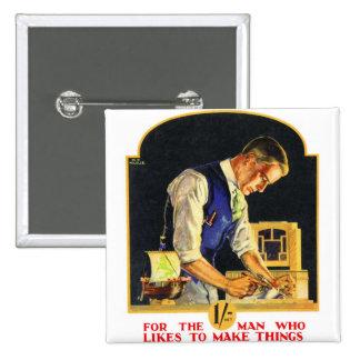 Retro Vintage Kitsch Handyman Woodworker Craftsman 2 Inch Square Button