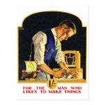 Retro Vintage Kitsch Handyman Woodworker Craftsman Postcard