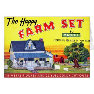Retro Vintage Kitsch Happy Farm Manoil Toy Metal Card