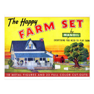 Retro Vintage Kitsch Happy Farm Manoil Toy Metal Postcard