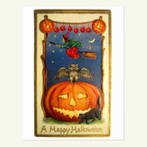 Retro Vintage Kitsch Happy Halloween Card
