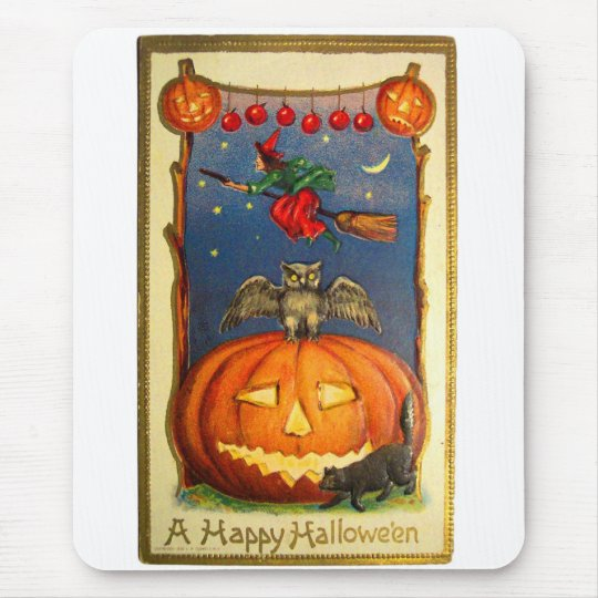 Retro Vintage Kitsch Happy Halloween Card Mouse Pad