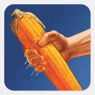Retro Vintage Kitsch High Fructose Corn Syrup Cob Square Sticker