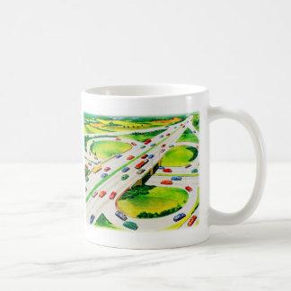 Retro Vintage Kitsch Highway Cloverleaf Classic White Coffee Mug