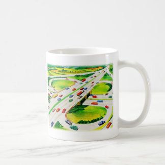Retro Vintage Kitsch Highway Cloverleaf Coffee Mug