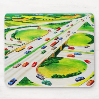 Retro Vintage Kitsch Highway Cloverleaf Mouse Pad