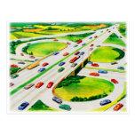 Retro Vintage Kitsch Highway Cloverleaf Postcard