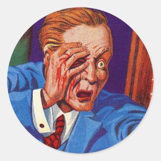 Retro Vintage Kitsch Horror My Eye! My Eye! Classic Round Sticker