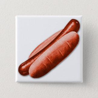 Retro Vintage Kitsch Hot Dog Frankfurter Red Hots Button