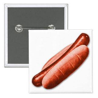 Retro Vintage Kitsch Hot Dog Frankfurter Red Hots Pinback Button
