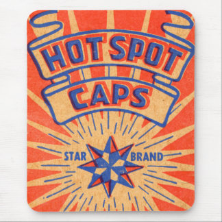 Retro Vintage Kitsch Hot Shot Mammoth Caps Mouse Pad