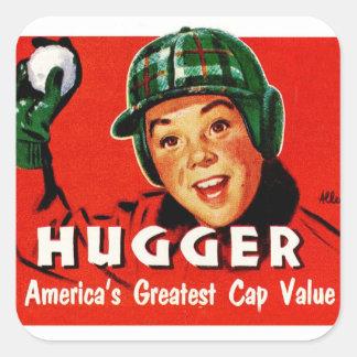 Retro Vintage Kitsch Hugger Americas Greatest Cap Square Sticker