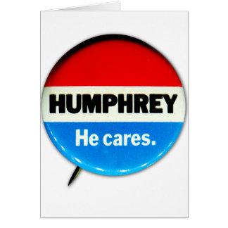 Retro Vintage Kitsch Humphrey 'He Cares' Button Card