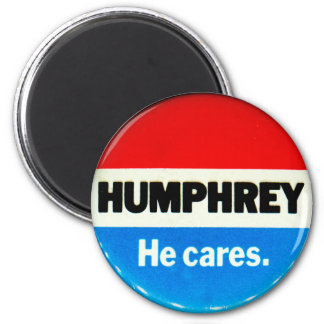 Retro Vintage Kitsch Humphrey 'He Cares' Button Magnet