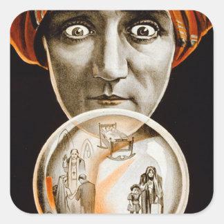Retro Vintage Kitsch Hypnotist Alexander Seer Square Sticker