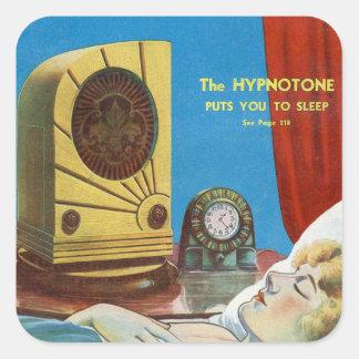 Retro Vintage Kitsch Hypnotize Hypnotone Machine Square Sticker