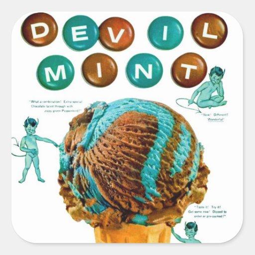 Retro Vintage Kitsch Ice Cream Devil Mint Ad Square Sticker