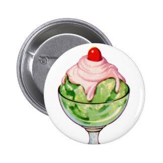 Retro Vintage Kitsch Ice Cream Soda Fountain Treat Pinback Button