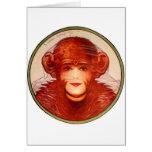 Retro Vintage Kitsch Illusion Chimp or Woman? Card
