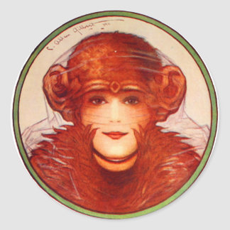 Retro Vintage Kitsch Illusion Chimp or Woman? Classic Round Sticker