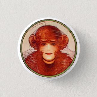 Retro Vintage Kitsch Illusion Chimp or Woman? Pinback Button
