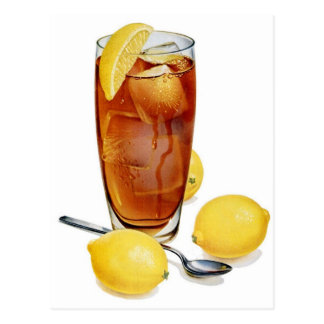 Retro Vintage Kitsch Illustration Iced Tea Lemons Postcard