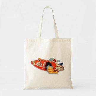 Retro Vintage Kitsch Japan Tin Toy Rocket Ship Budget Tote Bag