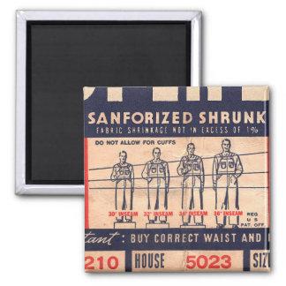 Retro Vintage Kitsch Jeans Pants Tag Super Big 2 Inch Square Magnet