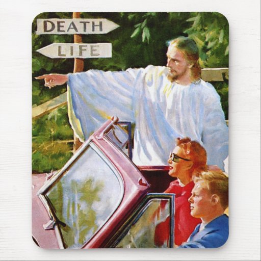 Retro Vintage Kitsch Jesus Points The Way Mouse Pads
