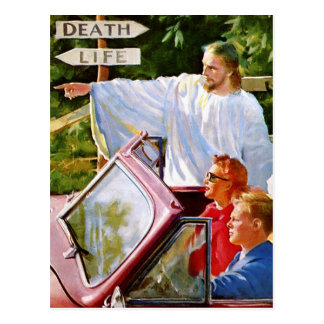 Retro Vintage Kitsch Jesus Points The Way Postcard