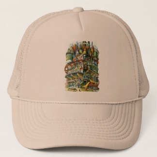 Retro Vintage Kitsch Judge Cover Future Apartments Trucker Hat